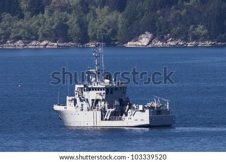 Norwegian Battleship outside Bergen - stock photo