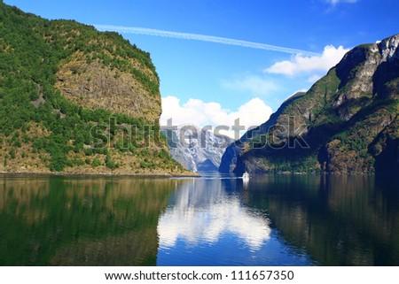 Norwegian fjord - stock photo