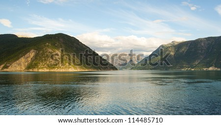 Norwegian fjord and mountains - stock photo