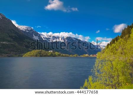 Norwegian fjord and mountains - stock photo