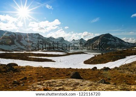 Norwegian high mountains - stock photo