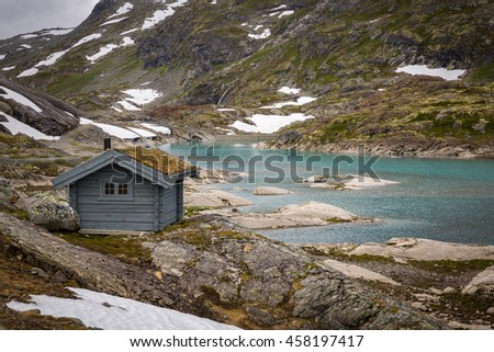 Norwegian house with grass roof