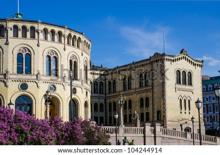 Norwegian parliament Storting Oslo, Norway - stock photo