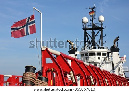 norwegian platform supply vessel - stock photo