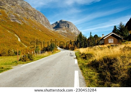 Norwegian scenic road in mountains - stock photo