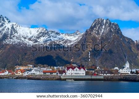 Norwegian town Svolvaer on Lofoten in sunny day - stock photo
