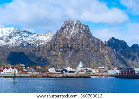 Norwegian town Svolvaer on Lofoten islands in sunny day