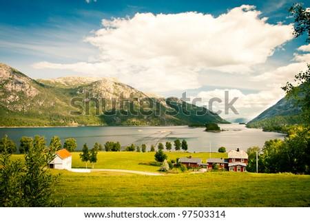 Norwegian village - stock photo