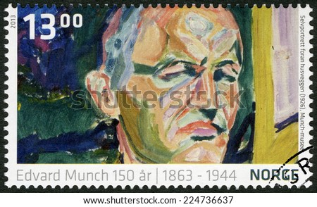 NORWEY - CIRCA 2013: A stamp printed in Norway shows Detail from Self-portrait in front of the Wall by Edvard Munch (1926, The Munch Museum), circa 2013