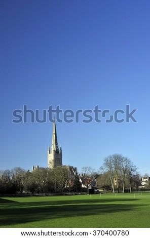 Norwich cathedral landscape, Norfolk, UK. - stock photo