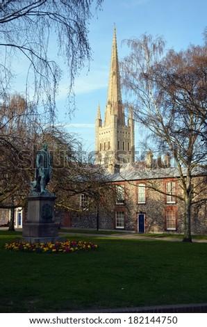Norwich Cathedral Scene - stock photo