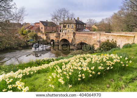 Norwich riverside at Bishopgate Bridge in Spring