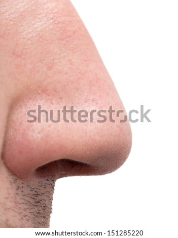nose man on a white background - stock photo