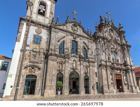 Nossa Senhora do Carmo das Carmelitas church facade in Porto. - stock photo