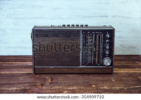 Nostalgia with an old radio.  - stock photo