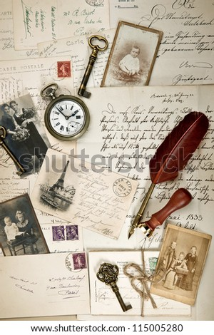 nostalgic vintage background with old post cards, letters and photos. collage. artwork - stock photo