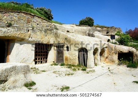 NOSZVAJ - APRIL 22: Ancient housing in volcanic caves on April 22, 2016 in the village of Noszvaj in Eger region, Hungary