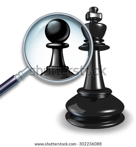 Not a leader business concept with a chess game king and a magnifying glass showing a change to a pawn follower or employee figure as a symbol of failed leadership and lack of management skill. - stock photo