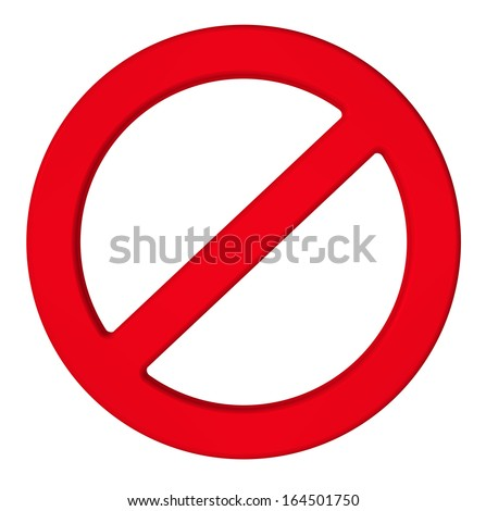 Not allowed sign isolated on white. Computer generated 3D photo rendering - stock photo