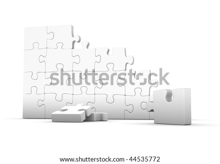Not assembled gray puzzle on white background
