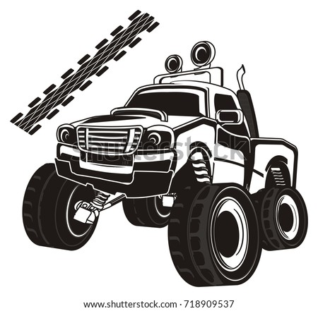 not colored monster truck and track