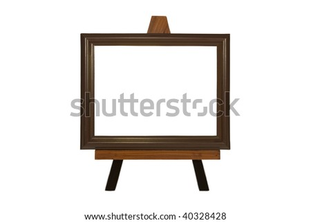 Not drawn picture on an easel. A blank leaf. On a white background - stock photo