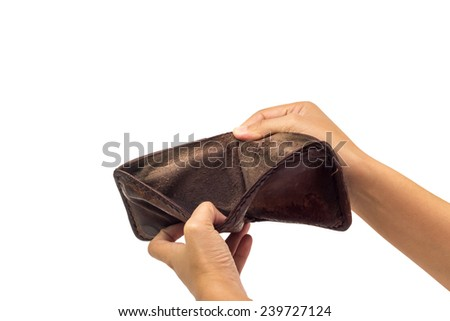 not empty in brown leather wallet on isolated white background