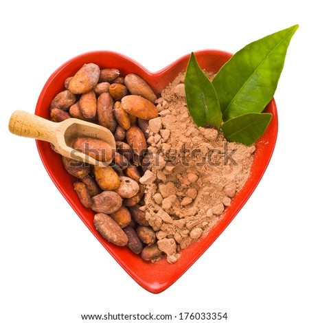 not ground cacao beans and cocoa powder  in a bowl in the shape of a red heart  isolated on white background - stock photo