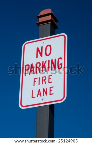 Not permitted to park on fire lane
