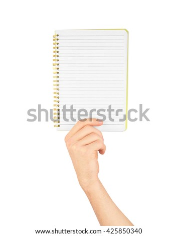 Note, a hand holding a notebook with blank space for write note, news, memo, announce, notice, isolated on white background - stock photo