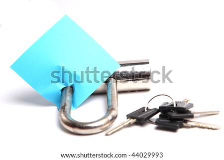 note and the iron lock with keys