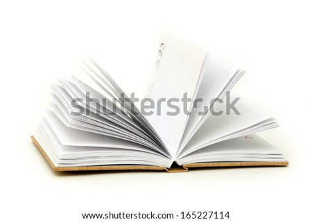 Note book open on a white background - stock photo