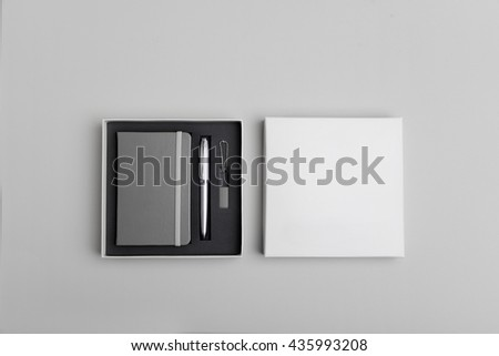 note book,pen, usb, box, package mock up