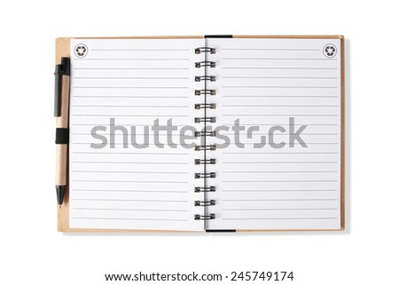 Note book with pen, isolated on white - stock photo