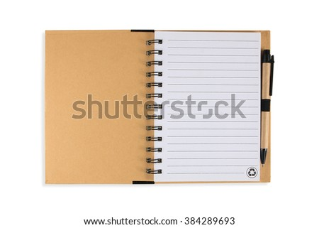 Note book with pen, isolated on white