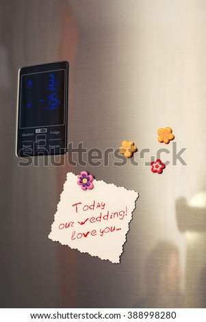 note on a refrigerator door for darling - stock photo