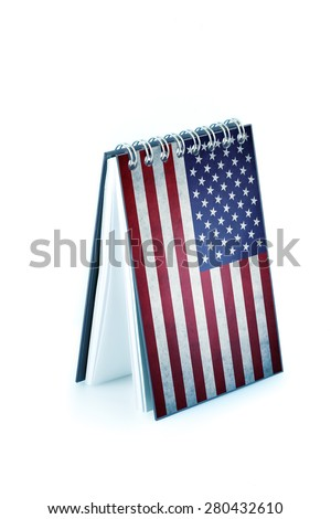 note pad with USA flag