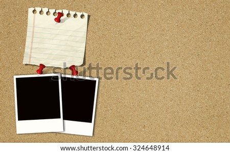 Note paper and instant photos on Cork board background - stock photo