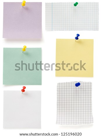 note paper and tack  isolated on white background - stock photo