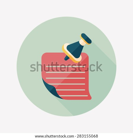note paper flat icon with long shadow - stock photo