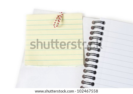 note paper in open notebook - stock photo