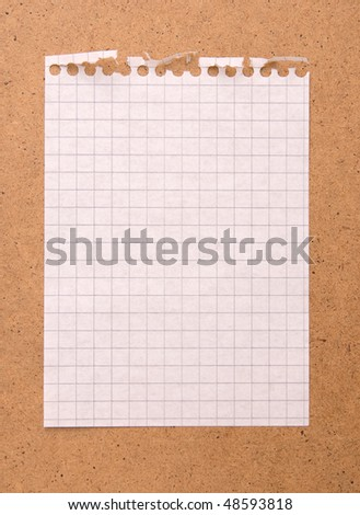 Note paper on the brown board