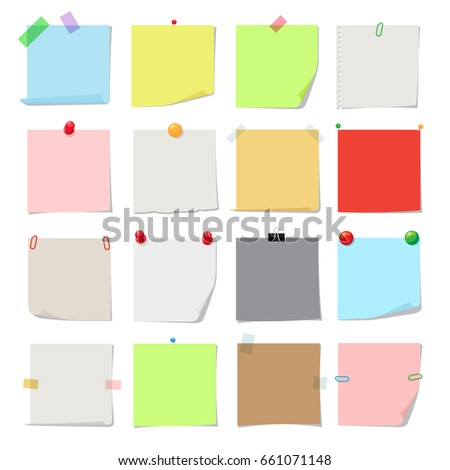 Note paper set. notes, post memo papers isolated on white background