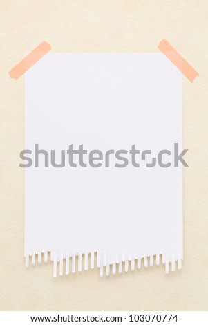 Note paper taped on wall - stock photo