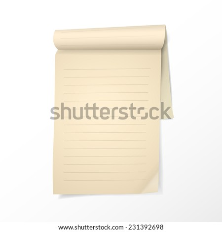 note paper template isolated on white background