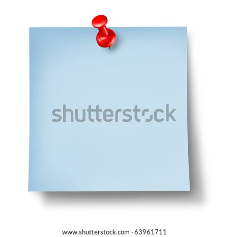 note paper thumb tack blank yellow isolated