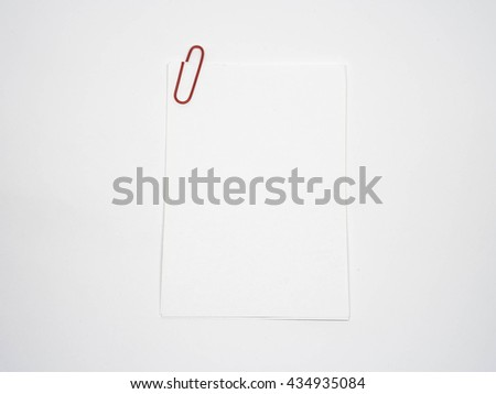 note paper with clip. Paper note write. Blank paper note - stock photo