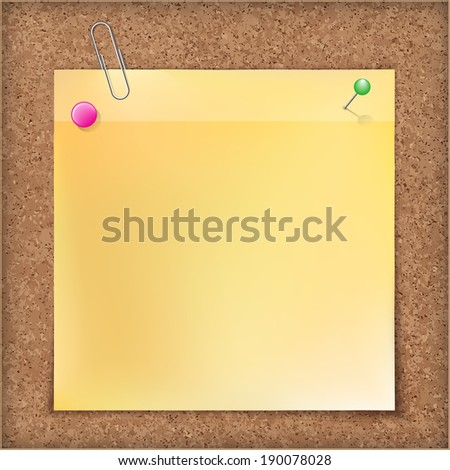 Note paper with metal  paper clip, green and  pink push pins on  cardboard background. - stock photo