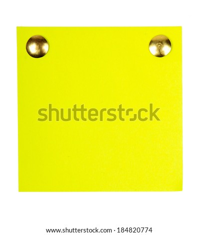 Note paper with nail isolated on white background - stock photo