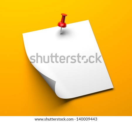 Note paper with pin